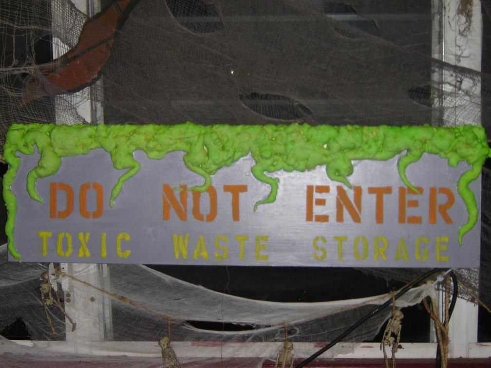Prop Showcase My New Sign SeasonsBoo Day - Toxic Dump - haunted forest ideas for halloween