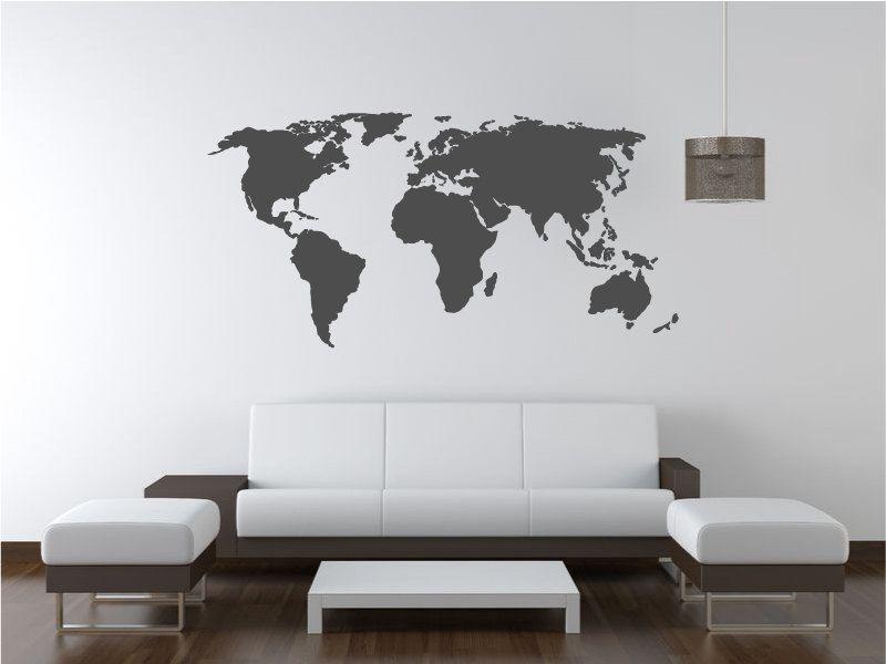 World map decal wall decal wall sticker 3200 via etsy explora habitacin tumblr decoracin hogar y mucho ms world map decal gumiabroncs Image collections