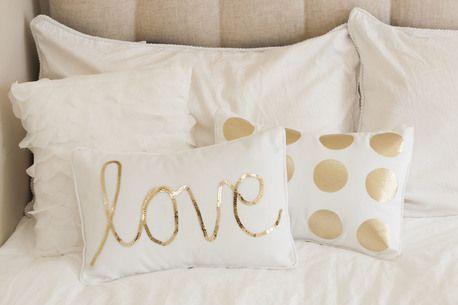 embellish white pillows w/ gold!   DIY   Bedroom decor, Bedroom, Home