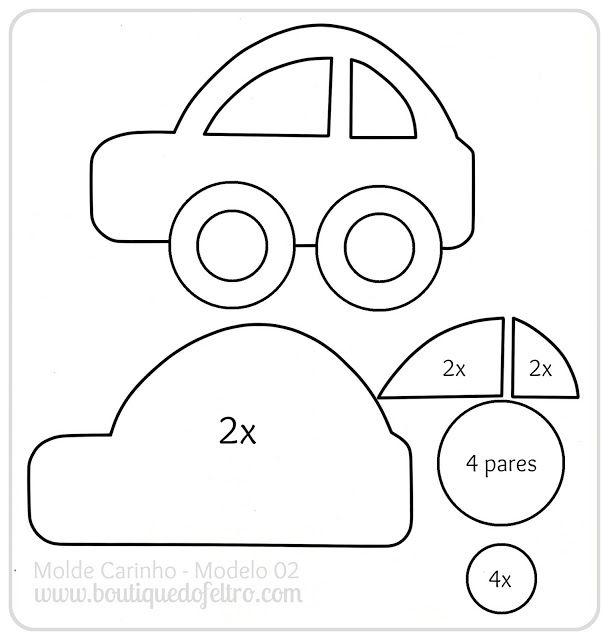 Simple cartoon car. | Fieltro, paño lenci... | Fieltro, Moldes y Feltro