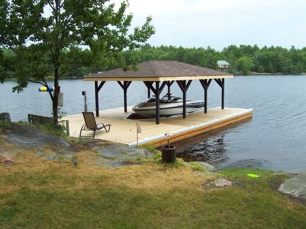 Covered Boat Dock Plans | Floating Boathouse | Lake Ideas