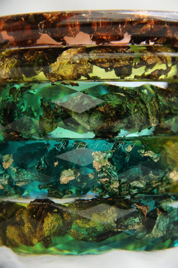 Set faceted bracelet Resin bracelet Bangle gold by RALIJEWELLERY