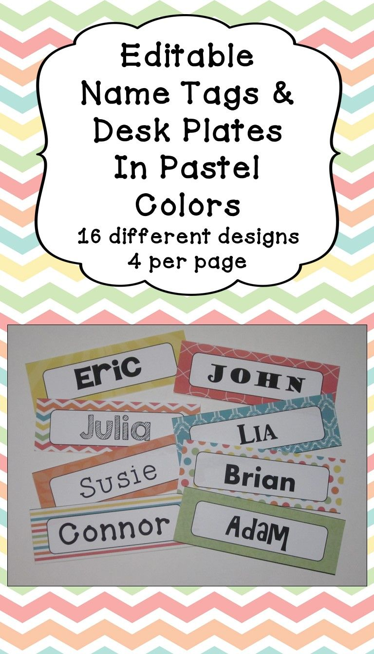 Editable Name Tags and Desk Plates in Pastel Colors | Best Teaching
