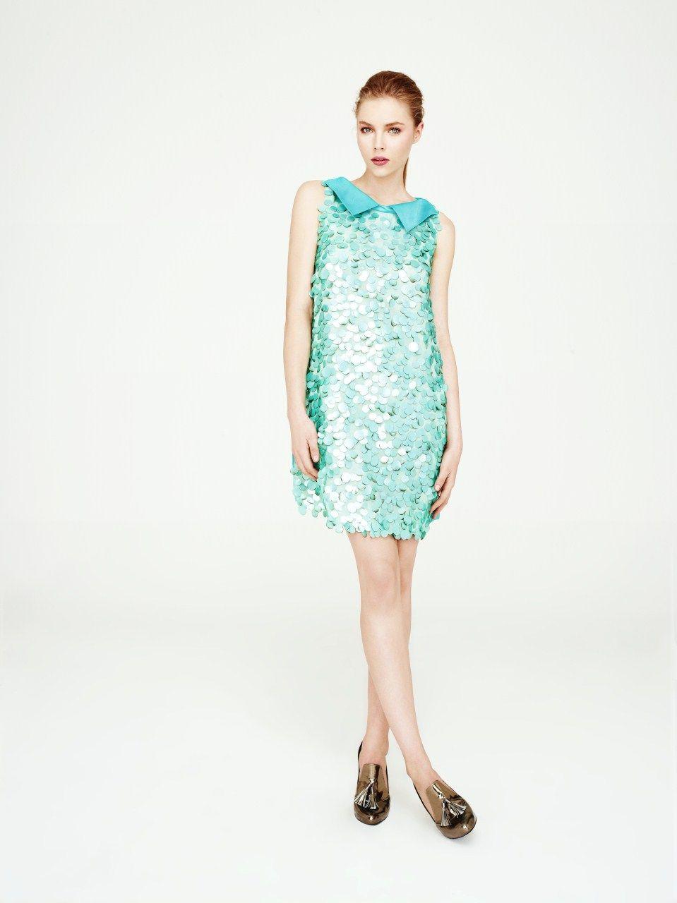 Baby Collar Green Sequined Mini Dress Bebe Yaka Yesil Payetli Mini Elbise Mini Elbise Elbise Giyim