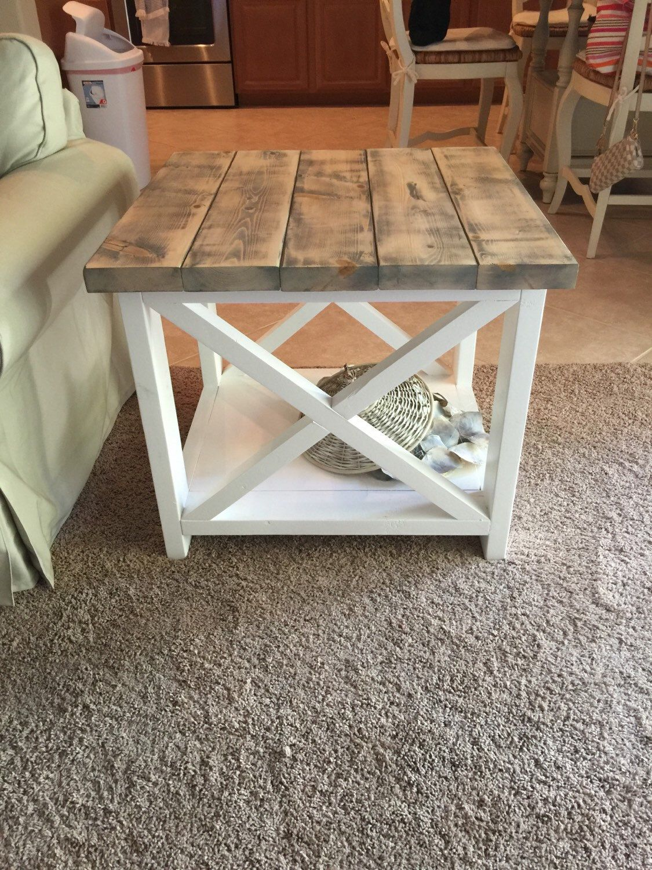 Custom Rustic Farmhouse End Table Bedding Pinterest