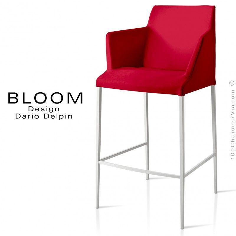 Tabouret De Bar Lounge Avec Accoudoirs Bloom Structure Acier Peint Blanc Assise Et Dossier Garnis Habillage Tissu Rouge Chair Furniture Decor