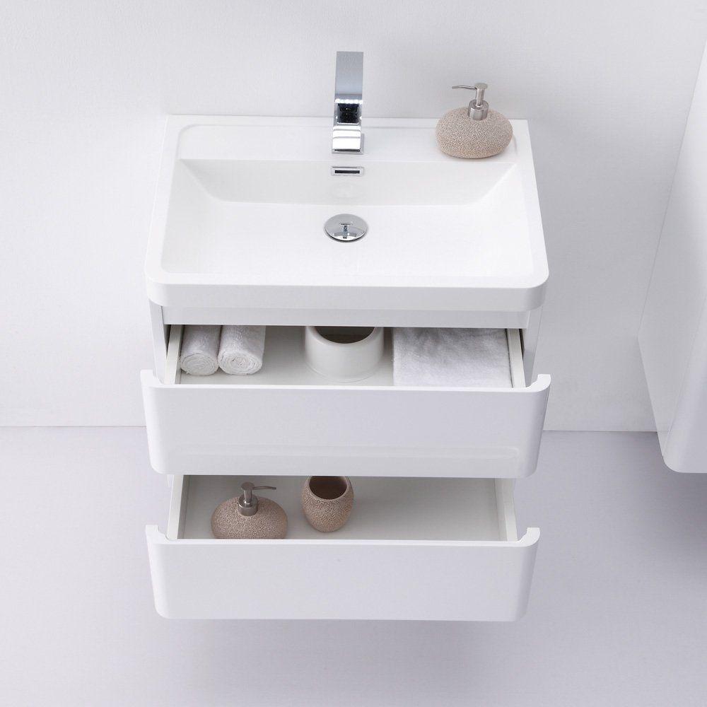 Lusso Stone venetian wall mounted designer bathroom vanity unit 600 ...