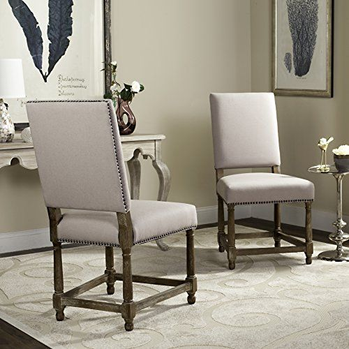 Safavieh Mercer Collection Stratton Linen Side Chairs With Nail Head,  Beige, Set Of 2