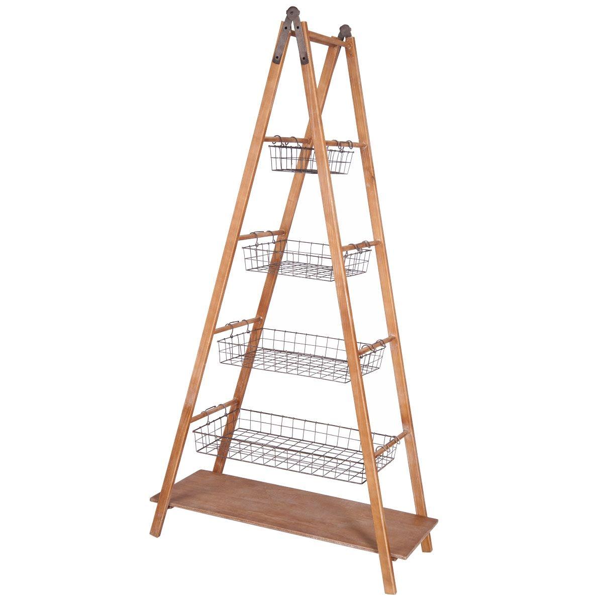 Foreside Home & Garden - Ladder Basket Shelf | Trend Alert : Wood + ...
