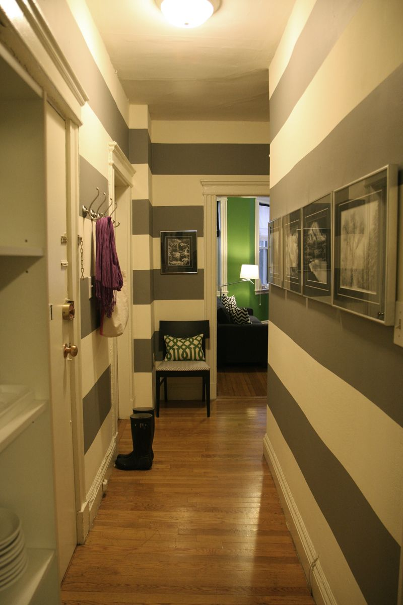 Upstairs hallway decor  stripes in the hallway  Home  Pinterest  Hall House stairs and