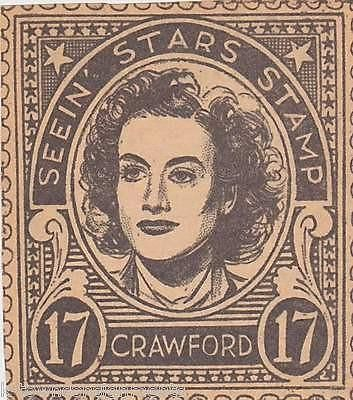 JOAN CRAWFORD MOVIE ACTOR VINTAGE SEEIN STARS STAMP GRAPHIC PROMO CLIPPING