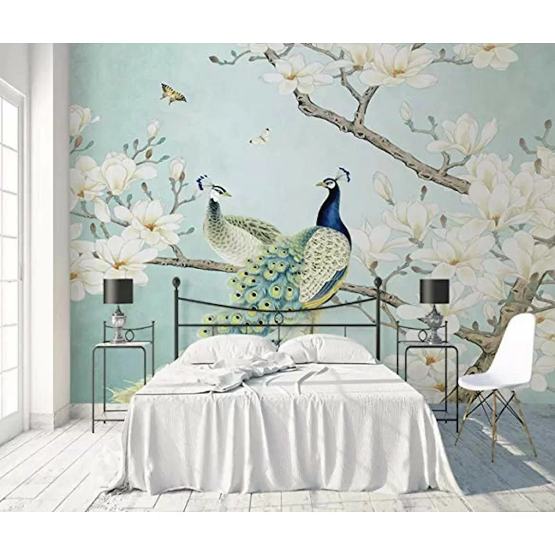 Frisch Chinese Peacock Magnolia Textile Texture Wall Mural