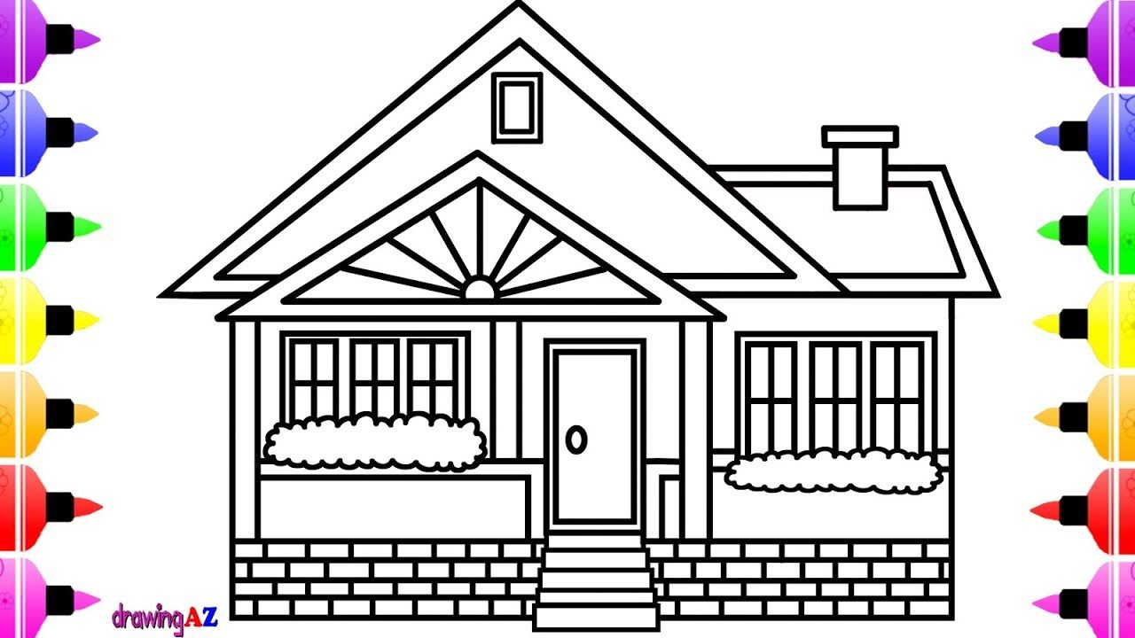 How To Draw A House For Kids And House Coloring Book For Children With C Coloring Books House Drawing For Kids Coloring Pages For Kids