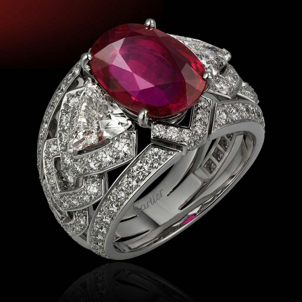 Cartier Platinum Ruby Ring ทับทิม