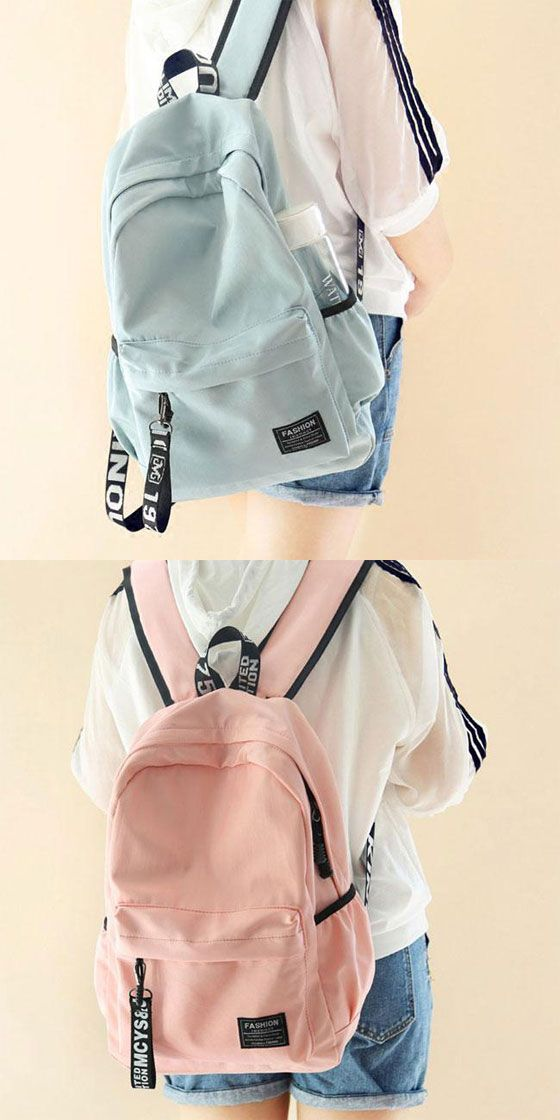 Fresh Waterproof Pure Color Letters Belts School Bag Young Simple Travel Backpack #backpacks