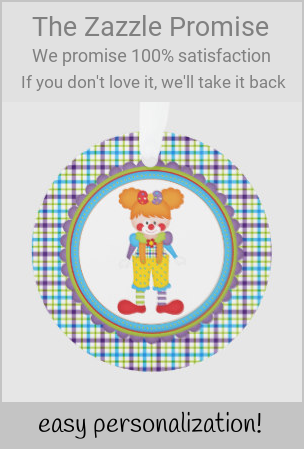 Circus Clown Girl Custom Tree Ornament #christmas #tree #ornament #round #circus #plaid #tartan #pattern #gifting #giftgiving #giftideas #Christmasplaid