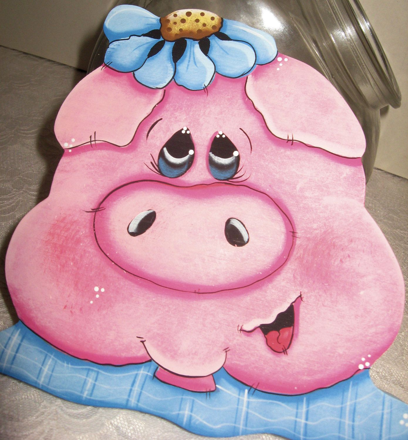 Cookie jar Lids Pig Kitchen Decor Painted Pigs Unique Gifts Animal