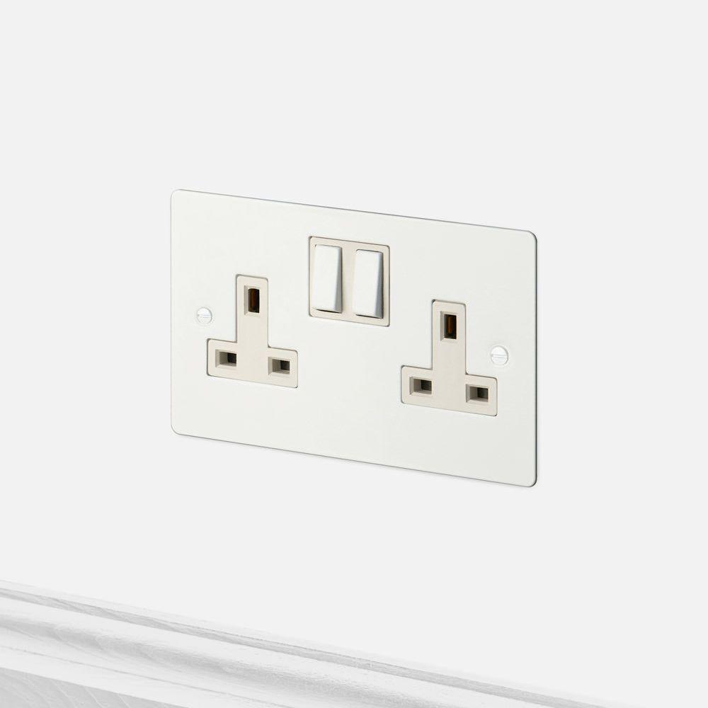 2g Uk Plug Socket White Plug Socket Light Switches And Sockets Sockets