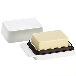 "DESA Butter Dish by Blomus. A review indicates, ""The shape is made for European butter (wider and shorter than most American butters), but most butter blocks will fit in it."""