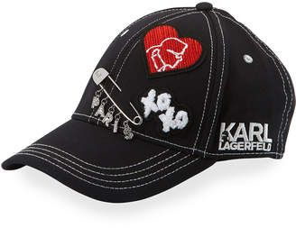 c54cf10324a10 Karl Lagerfeld Logo Patch and Charm Baseball Cap  hat  womens
