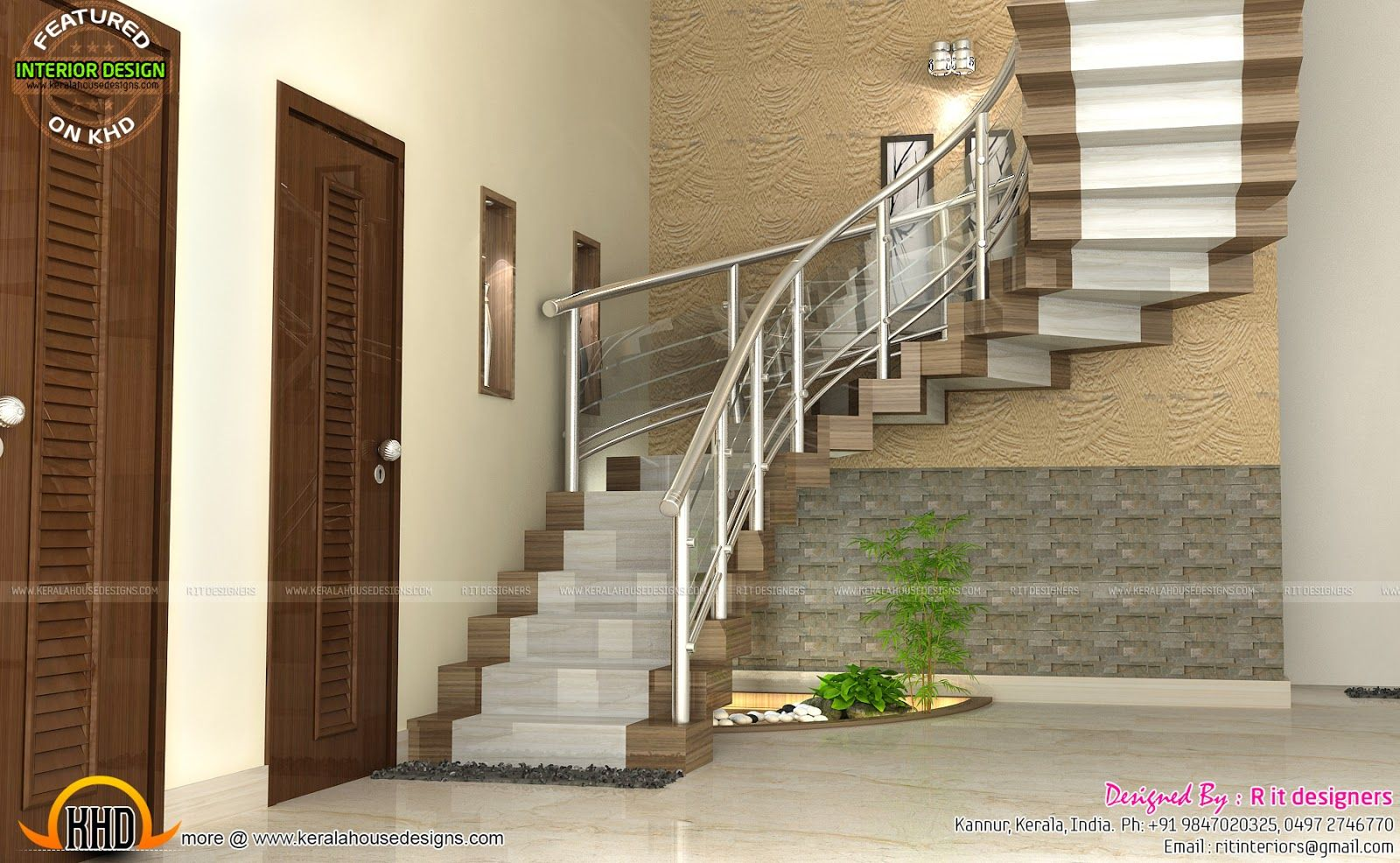 Modular Kitchen Bedroom And Staircase Interior Duplex House