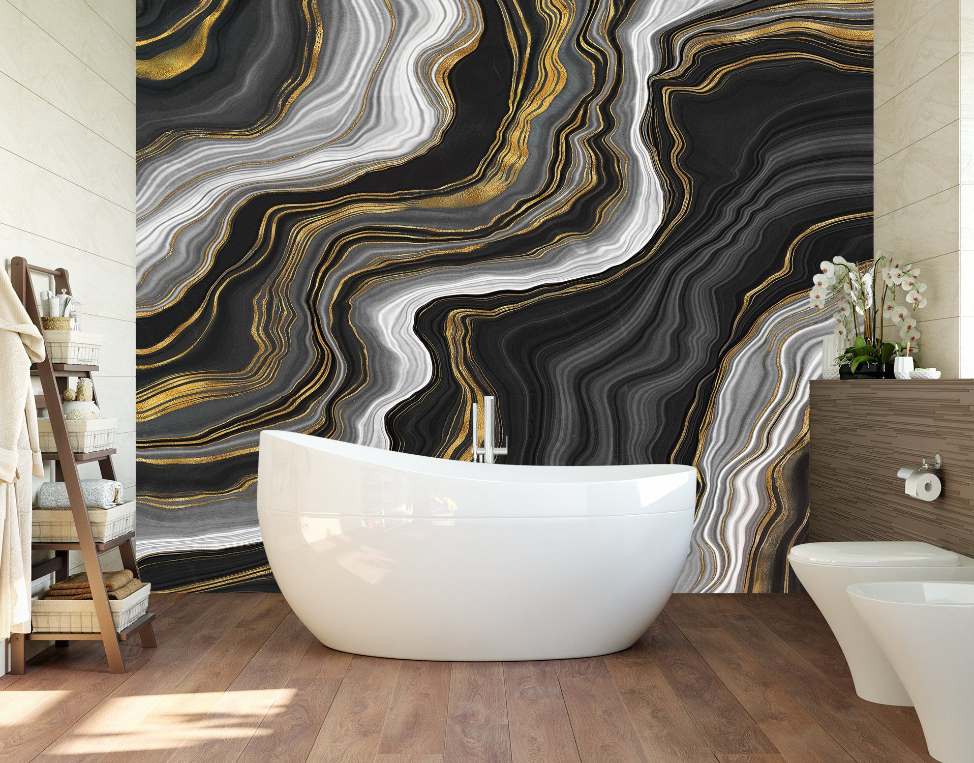 Black And Gold Abstract Marble Stone Pattern Peel And Stick Wallpaper 6146 2 Stone Pattern Wallpaper Accent Wall Wall Murals