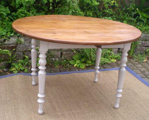 Belle Table Ronde A Volets Ancienne En Bois Peint Table Ronde Bois Table Bois Salle A Manger Bois