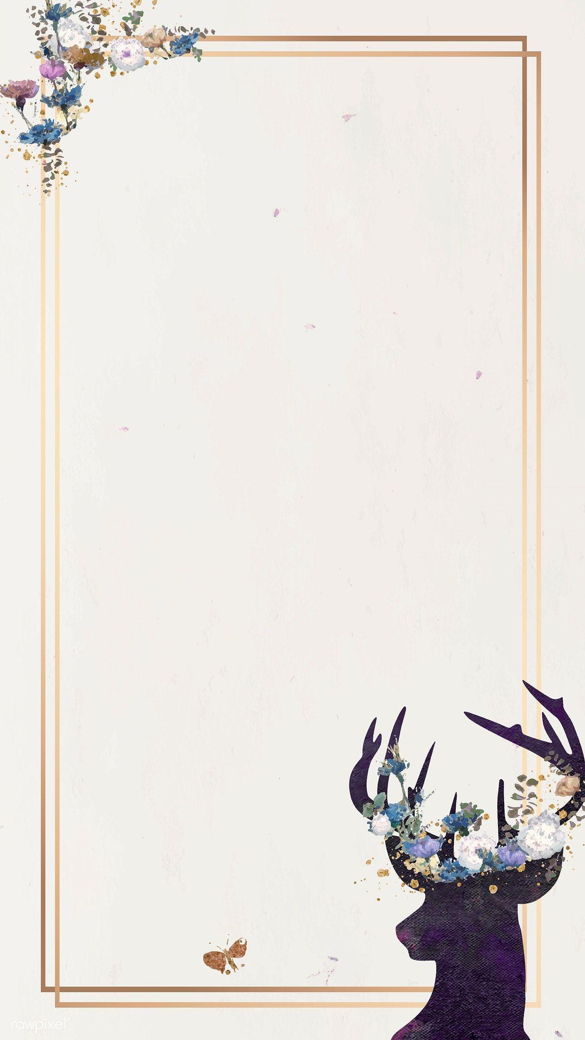 Download Premium Vector Of Deer Head Silhouette Painting Mobile Phone Watercolor Pattern Background Silhouette Painting Flower Background Wallpaper