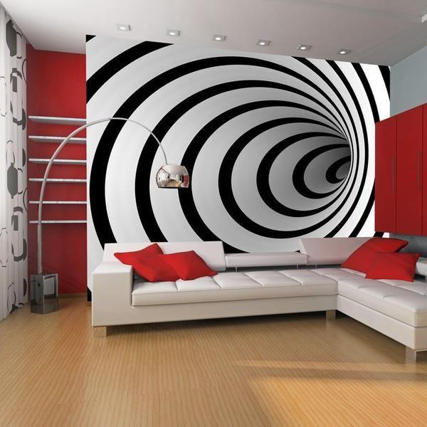 Carta da parati 3D Tunnel bianco e nero 3D Idea di