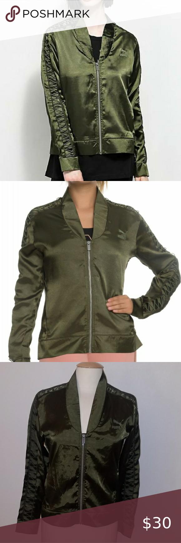 Nwot Puma Olive Green Satin Bomber Jacket Satin Bomber Jacket Olive Green Jacket Coats Jackets Women [ 1740 x 580 Pixel ]