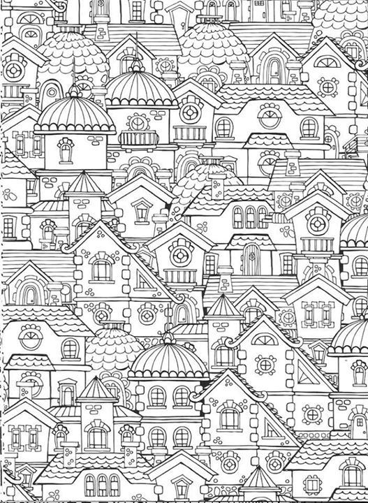 Coloring Page For Adults Buildings With Images Coloring
