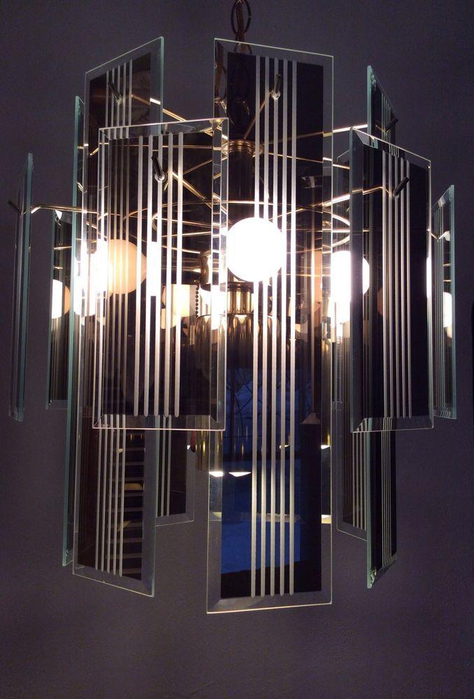 Vintage Art Deco Hanging Chandelier Beveled Reflective Smoke Gray Glass Panel