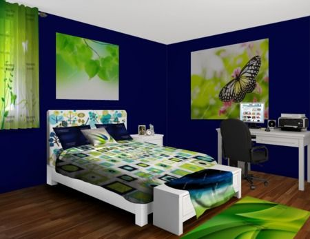 Navy And Lime Green Spritz Bedroom at httpwwwvisionbeddingcom