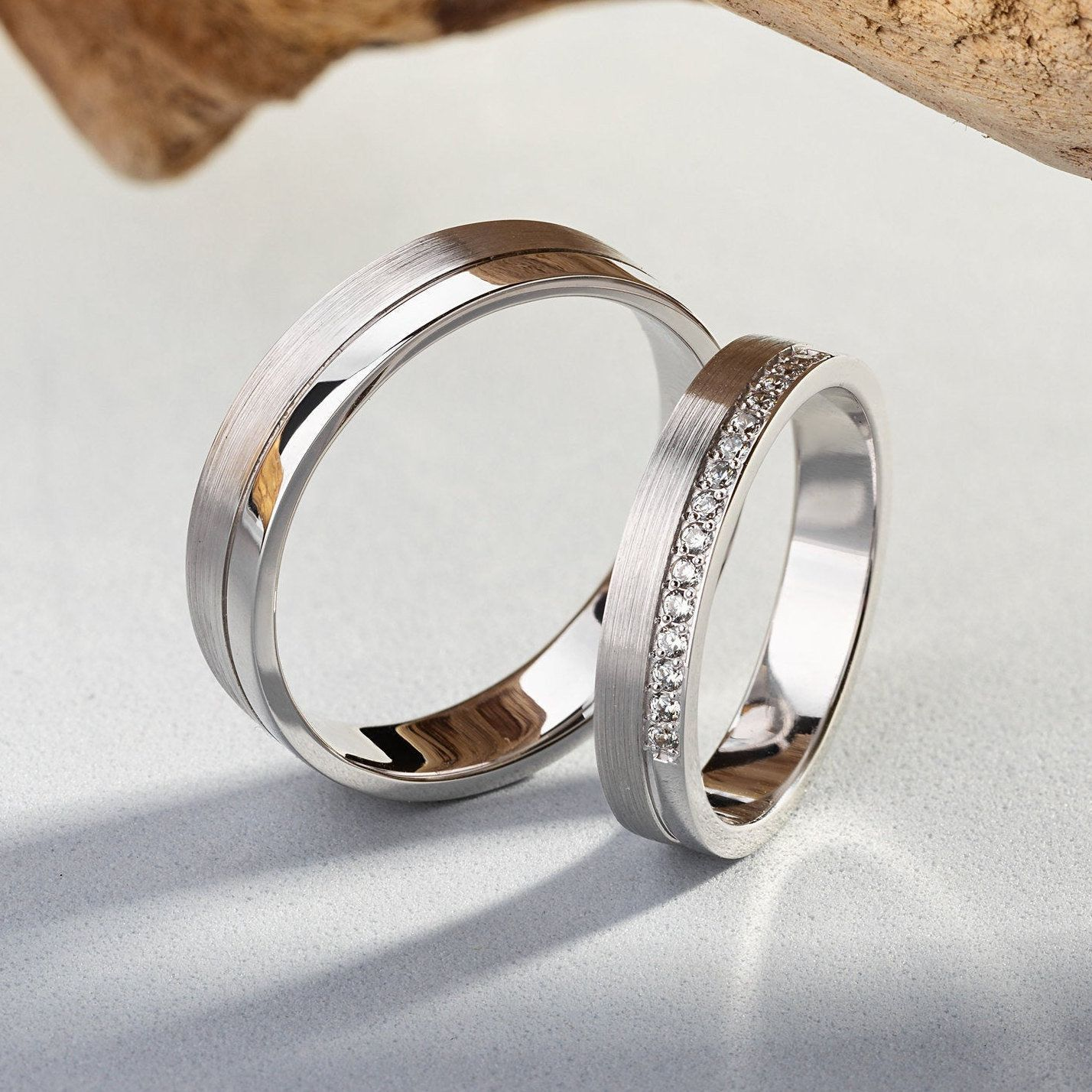 White Gold Wedding Bands With Diamonds Matching Wedding Etsy Couple Wedding Rings White Gold Wedding Rings Wedding Rings Unique
