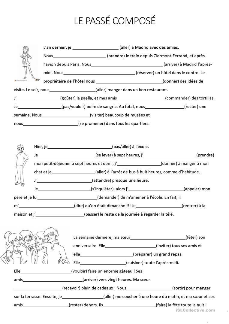 Texte à trous : le passé composé | Passé composé, Apprendre l'anglais et Exercice cm1