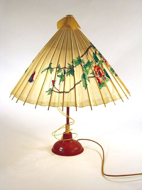 This cool looking asia themed lamp was made out of an upcycled this cool looking asia themed lamp was made out of an upcycled paper umbrella plunger wire bulbs greentooth Gallery