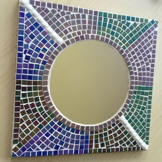 Dramatic Handmade Mosaic Mirror 12 Square Frame With 7 Round Mirror Iridescent Glass Tiles In Blue G Iridescent Glass Tiles Handmade Mosaic Mosaic Mirror