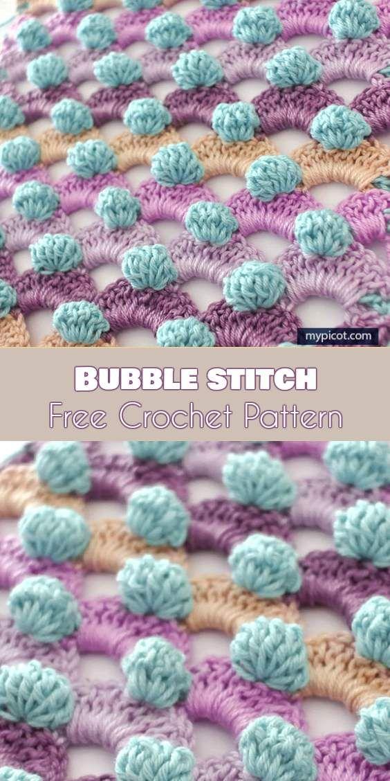 Excelente Patrón De Crochet Afghan Bobble Viñeta - Manta de Tejer ...