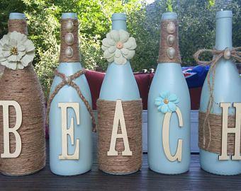 Wine bottles Beach decor #recycledwinebottles