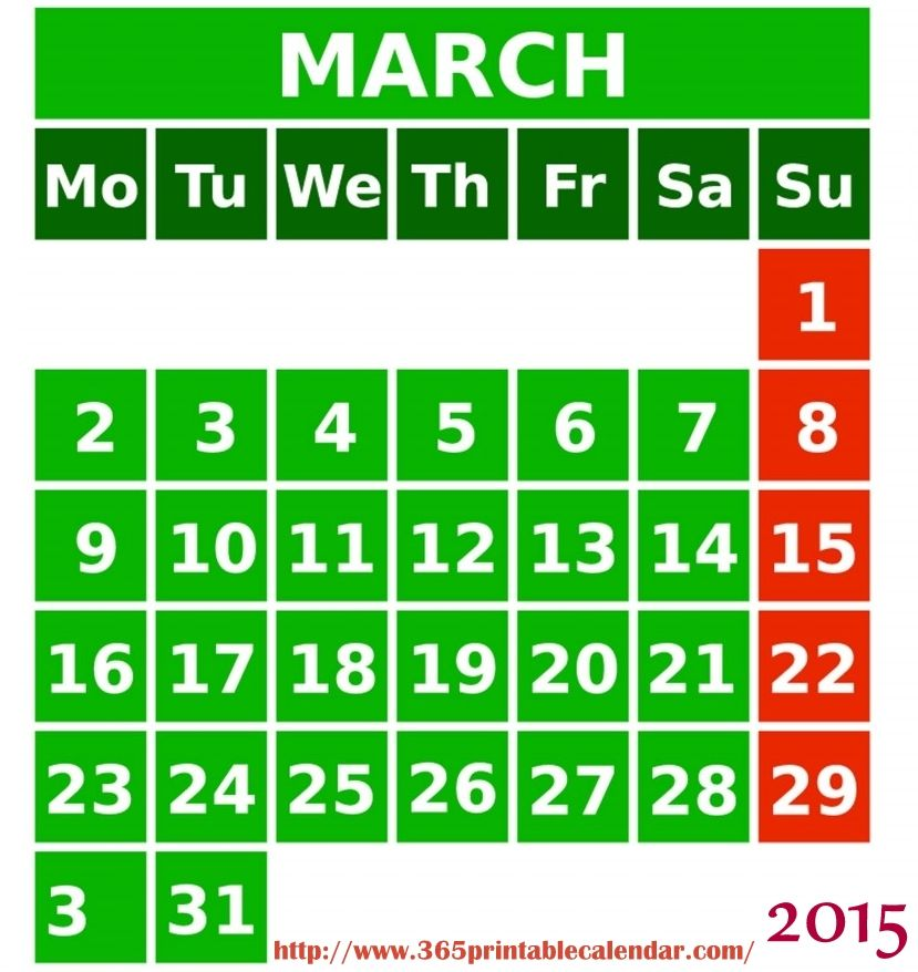 Best Collection Of Printable March 2015 Calendar Spanish Cute March