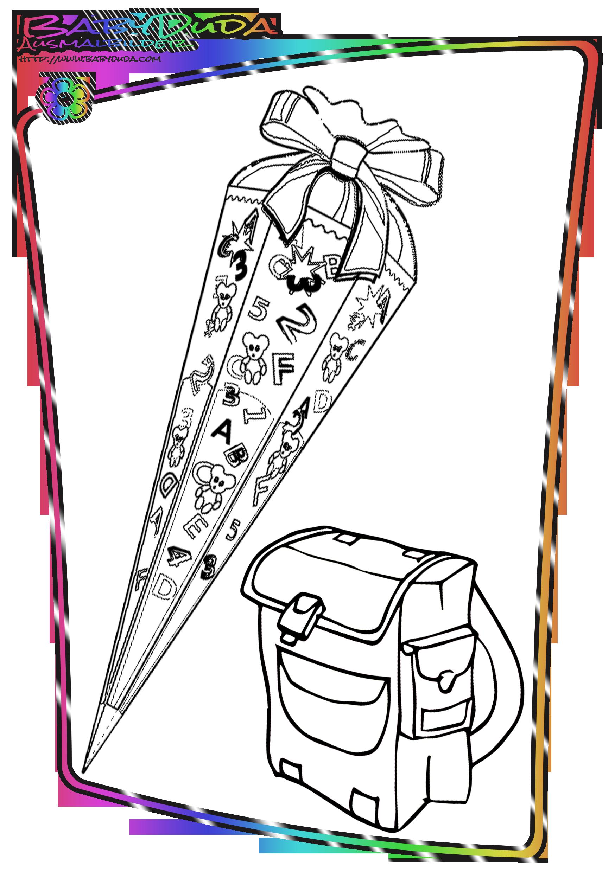 Ausmalbilder Für Große Mädchen : Schule Ausmalbild Zuckertuete Png Png Grafik 1748 2480 Pixel