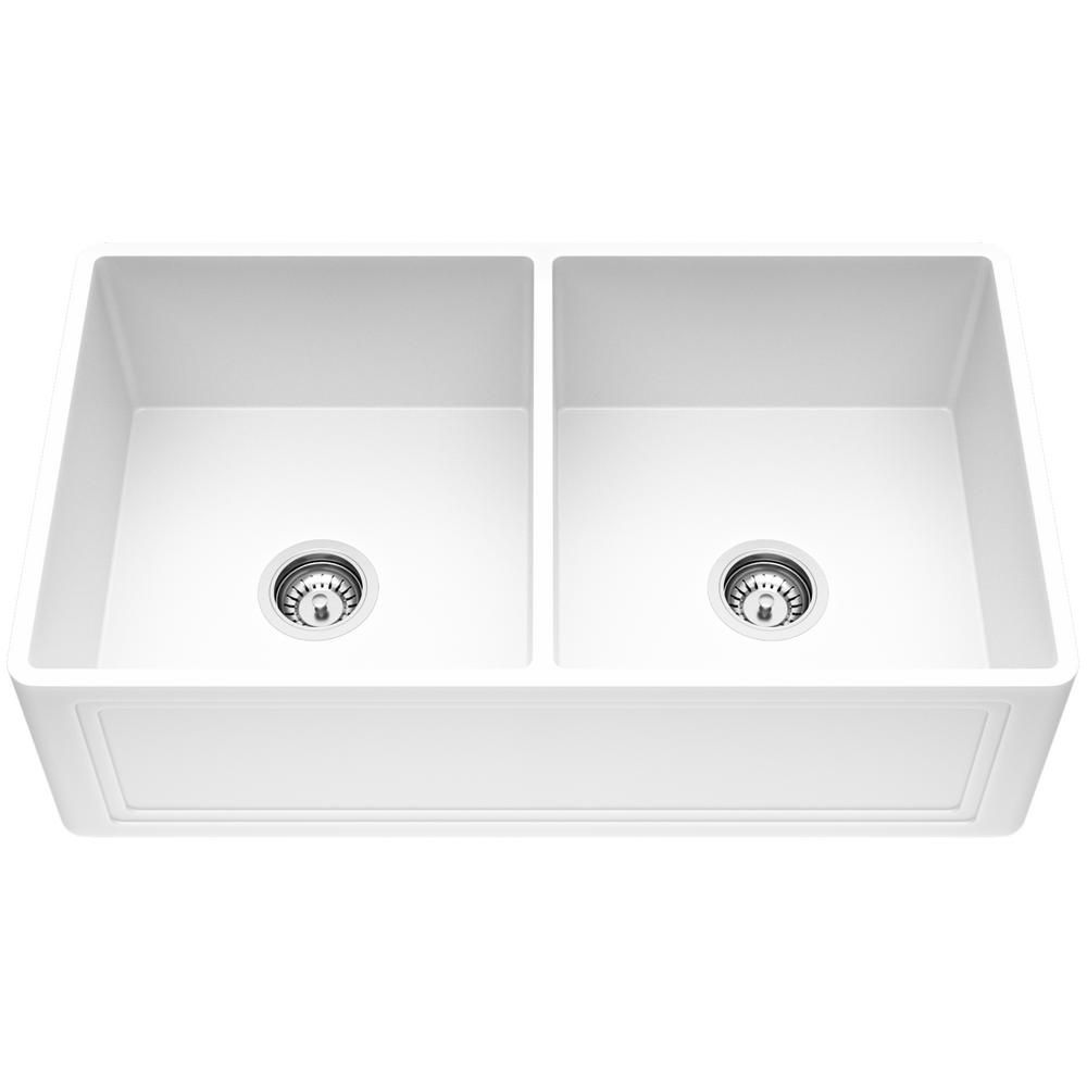 Vigo Matte Stone Farmhouse Composite 33 In 0 Hole 50 50 Double Bowl Kitchen Sink With 2 Strainers In Matte White Double Bowl Kitchen Sink Farmhouse Sink Kitchen Sink