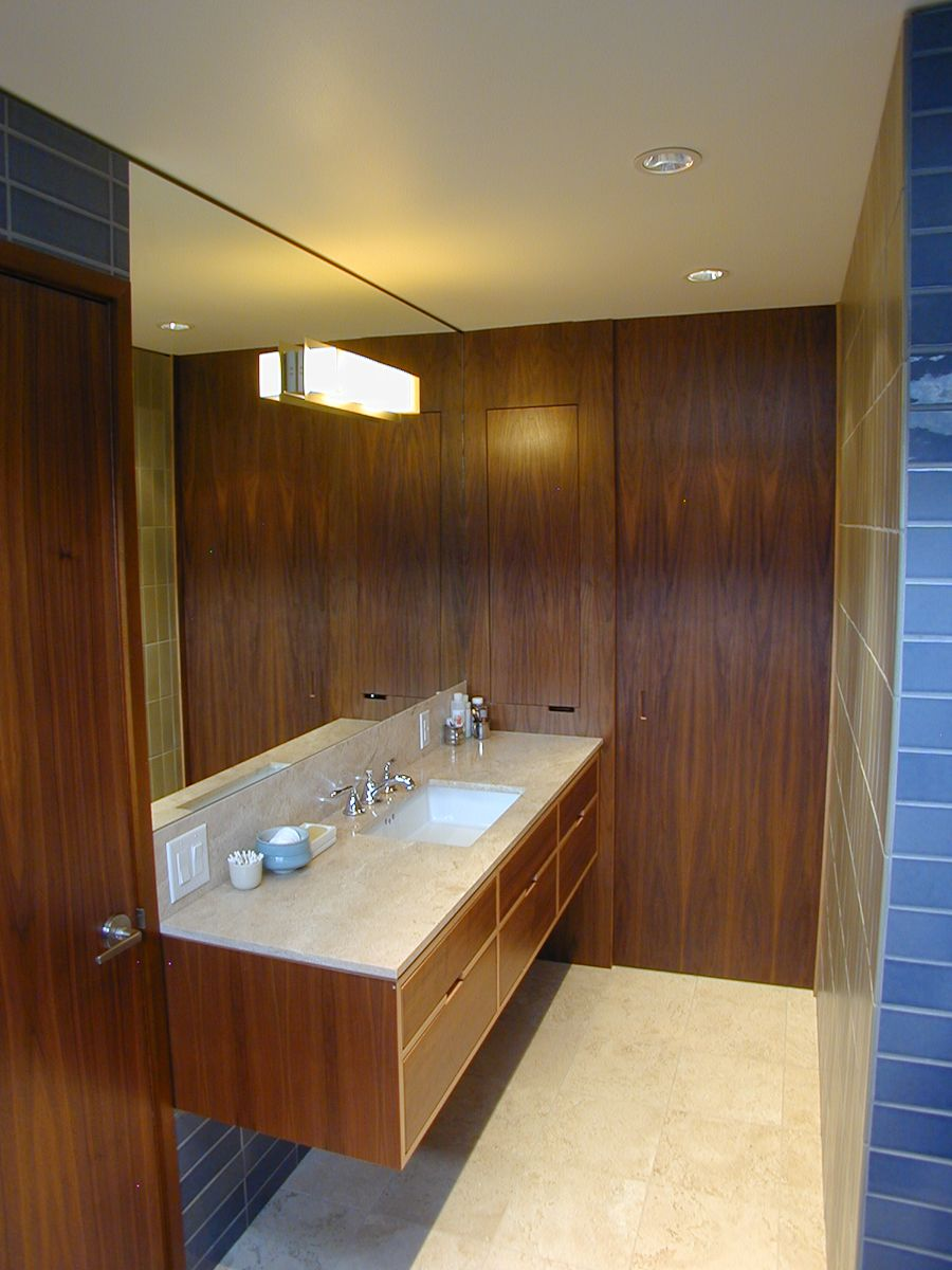 Bathroom Of The Year, Seattle Magazine. Walnut Floating Vanity With Drawers  In A Bathroom