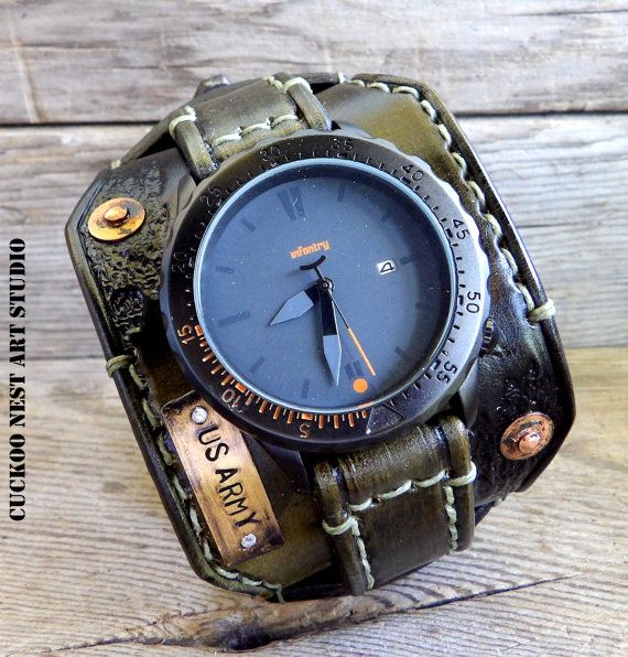 magasin en ligne b7d76 cd7fc 171e US Army Watch, montre militaire, montre cuir, montre ...