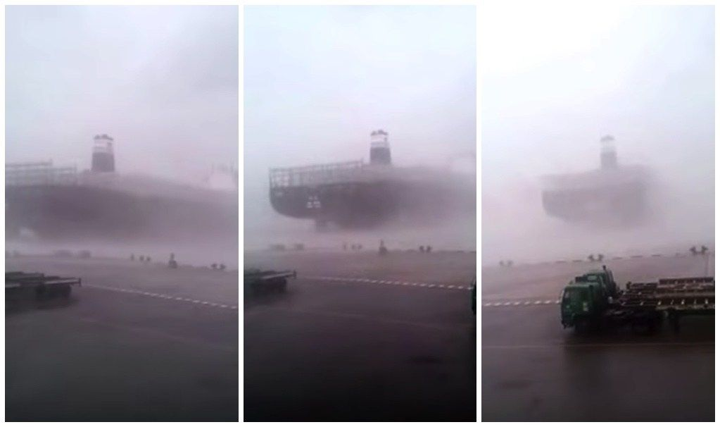 WATCH: Giant 14000 TEU Containership Breaks Free During Super Typhoon Meranti