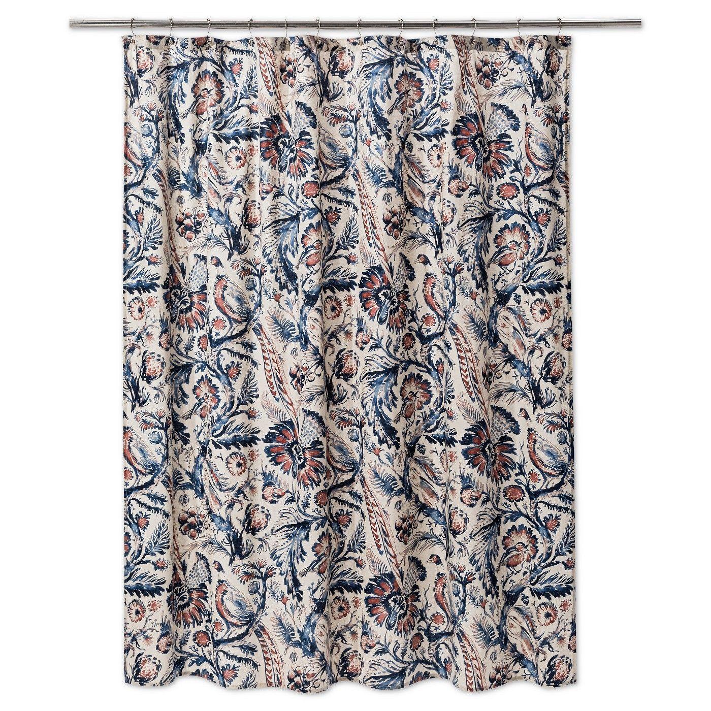 6ec0e6243f1e Floral Shower Curtain Xaviery Navy - Threshold™ - image 1 of 1