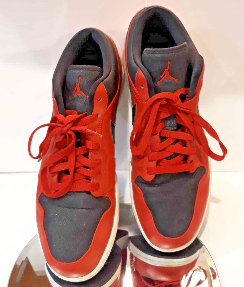 sports shoes f6d64 0fba9 Nike Size 13 IMPORT Men 553558-602 Black Red Air Jordan 1 Retro Low Top  Sneakers  Nike  BasketballShoes