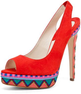 017f9620ed8 Brian Atwood - Aliyza Open Toe Red Pump - $1,186.00 - Click on the ...