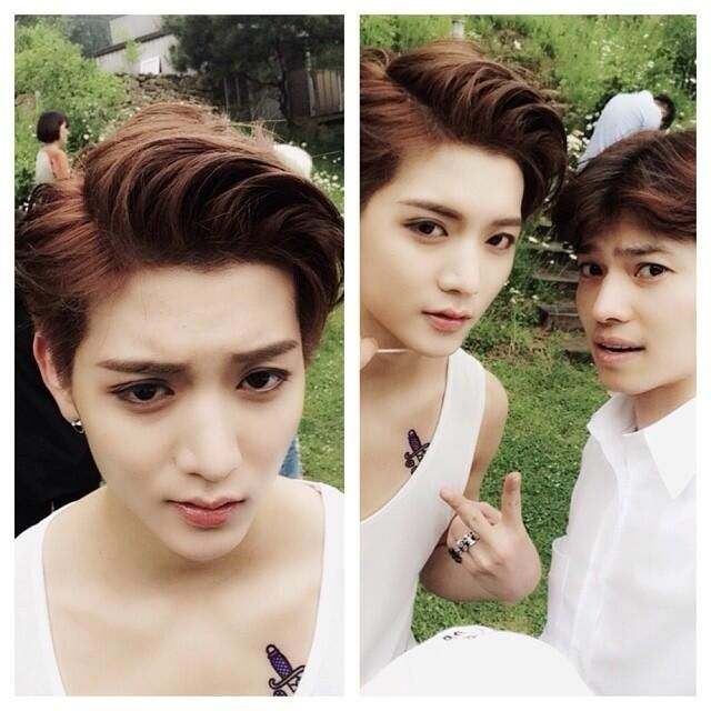 "Ren with his Stylist...is ""this stylist"" the reason  why oppa is prettier than girls?!"