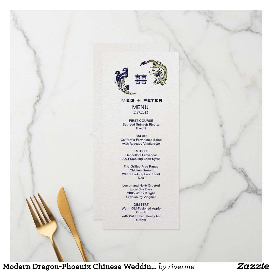Chinese Wedding Food Menu: Modern Dragon-Phoenix Chinese Wedding Menu